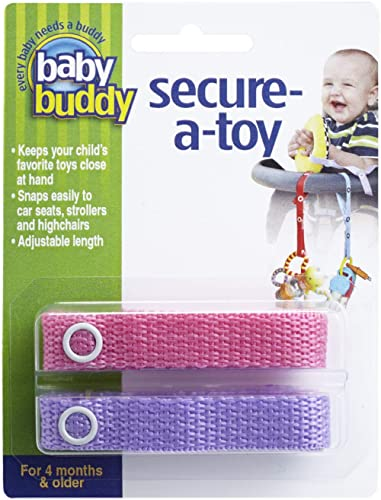 Baby Buddy Secure-A-Toy - Straps Toys, Teether, or Pacifiers to Strollers, Highchairs, Car Seats— Safety Leash With A...