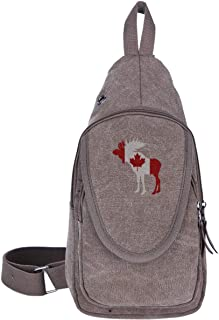 Moose In Flag Of Canada Canvas Sling Bag Rucksack For Men&Women Multipurpose Casual Bag