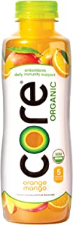 CORE Organic, Orange Mango, 18 Fl Oz (Pack of 12), Fruit Infused Beverage, Vegan/Gluten-Free, Non-GMO, Refreshing Flavored Water with Antioxidants, Great For Immunity Support