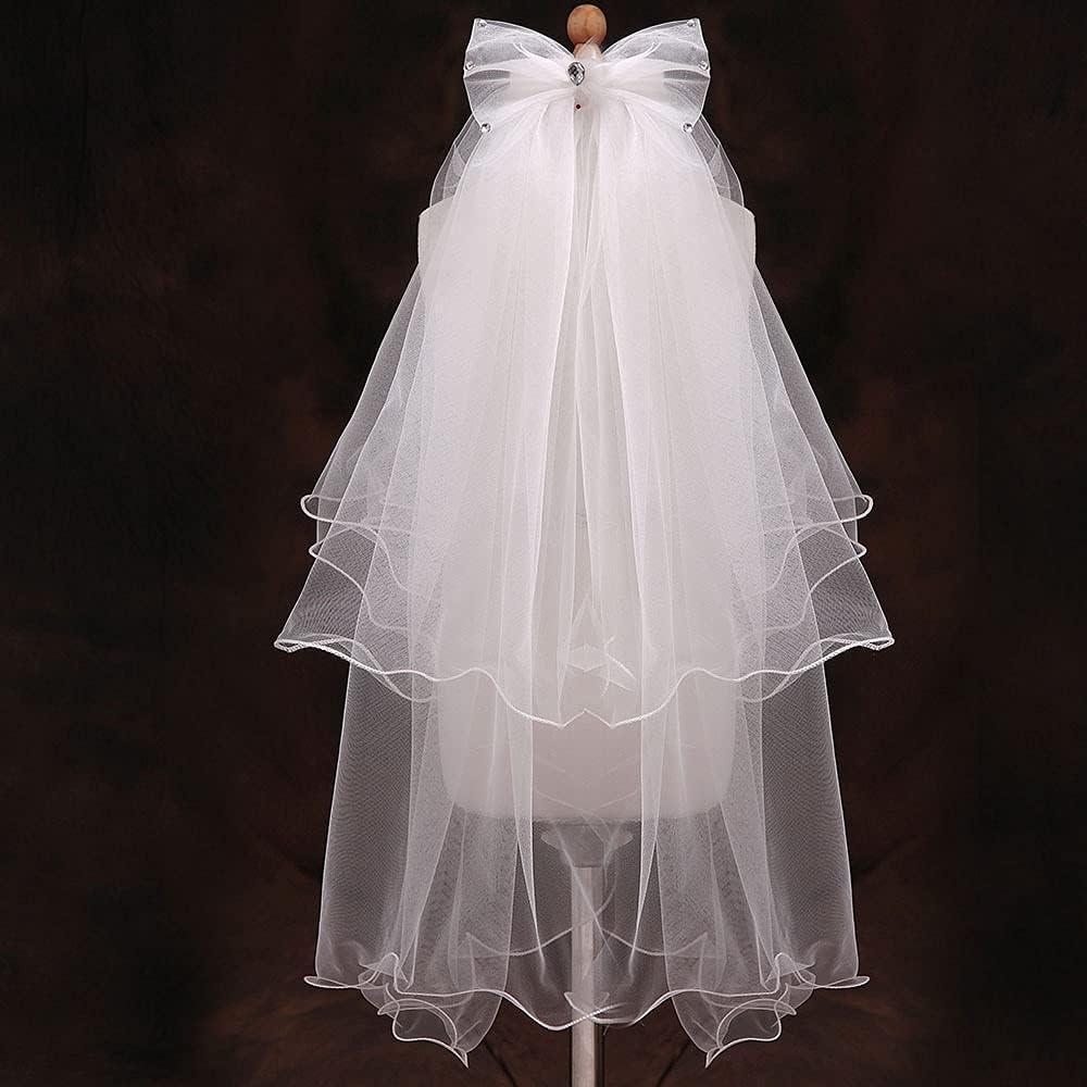 XKMY New Children Girl First Communion Veil Tulle Bow tie Comb Wedding Flower Girl Veil (Color : White)