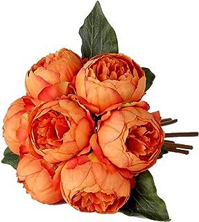 Louiesya Artificial Fake Flowers Peony Plants Silk Flower Arrangements Wedding Bouquets Decorations Plastic Floral Table Centerpieces Home Kitchen Garden Party Décor (Orange)