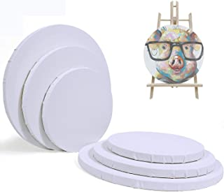 White EXCEART 2Pcs Artist Stretched Canvas Wooden Round Painting Canvas Cotton Stretched Canvas Boards for DIY Drawing Painting