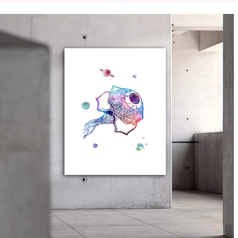 有効なファッション文献Llxhg?人間の人間の目プリント解剖学水彩ポスターキャンバスプリント壁写真用医学教育家の装飾-60×80センチなしフレーム