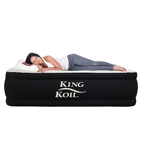King Koil California King Luxury Raised Air Mattress with Built-in 120V AC High Capacity