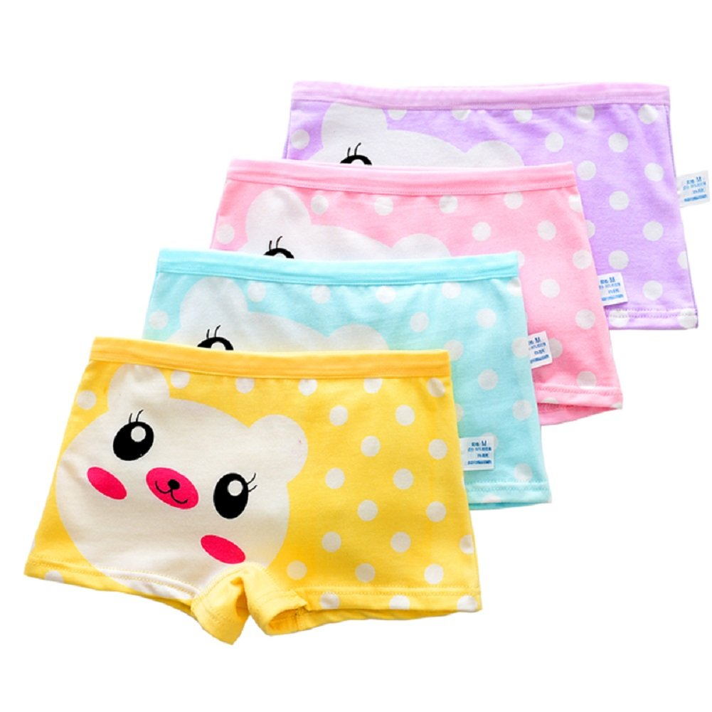 adiasen Cute Cartoon Princess Little Girls 4-Packs Comfortable Cotton Underwear Hipster Knickers Briefs Boxer