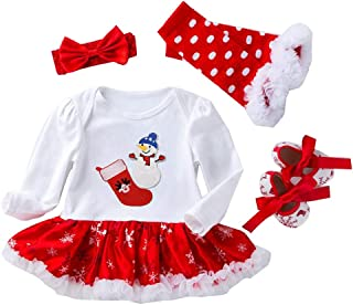 LvRao 4 pcs Newborn Babies Girls My First Christmas Outfits Tutu Princess Romper Dress with Headband Leggings Shoes