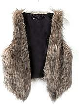 Dikoaina Fashion Women Faux Fur Waistcoat Short Vest Jacket Coat Sleeveless Outwear