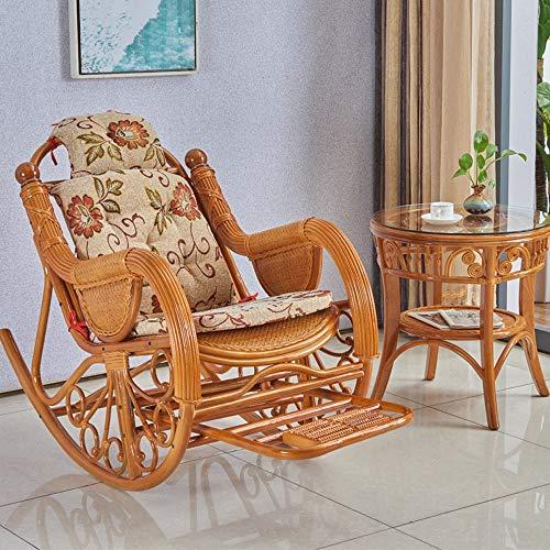 Bqy schommelstoel rotan rieten houten ligstoel buiten of binnen natuurlijke rotan rieten handgemaakte ontwerp alle weerbestendig