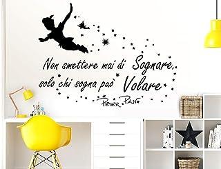 Adesivi Muro Frasi Peter Pan Non smettere mai di sognare Solo chi sogna può Volare Citazione Wall Sticker Adesivi Murali C...