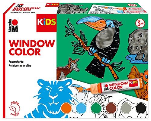 Marabu 0306000000002 - Kids Window Color Dschungel, Farbe auf Wasserbasis, ablösbar auf glatten Flächen wie Glas, Spiegel, Fliesen und Folie, 6 x 25 ml Farbe, Malvorlage A3 mit 18 Motiven und Folie A4