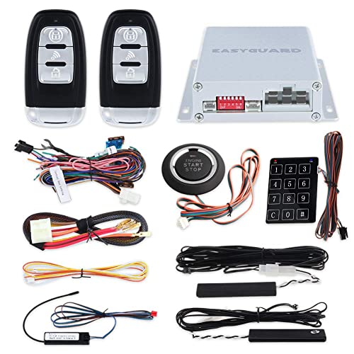 EASYGUARD EC002 Smart Key RFID PKE Car Alarm System Passive Keyless Entry Remote Engine Start Starter