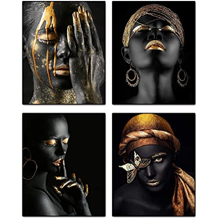 """African American Fashion Pop Gold Earrings Necklace Black Woman Wall Art Painting Set of 4 (8""""X10"""" Canvas Picture) SPA Bathroom Pretty Girl Room Poster Art Prints Bedroom Home Decor Unframed"""