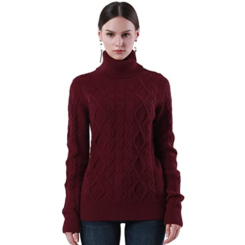 28a91f92ae PrettyGuide Women s Turtleneck Sweater Long Sleeve Cable Knit Sweater  Pullover Tops