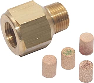 Midwest Control PS-25 Pressure Snubber, Solid Brass Housing, Porous Bronze Element, 10,000 psi Max Pressure, 35 Degree F to 300 Degree F, 1/4