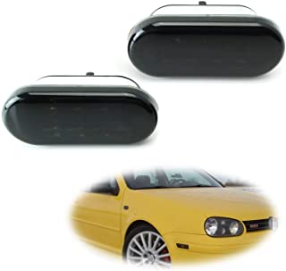 iJDMTOY Smoked Lens Amber LED Front Side Marker Lamps For 99-04 Volkswagen MK4 Golf Jetta Bora, 98-04 B5/B5.5 Passat, 99-03 GTI R32, 98-03 Beetle, (2) Smoked Sidemarkers Powered by 8 Amber LED Diodes