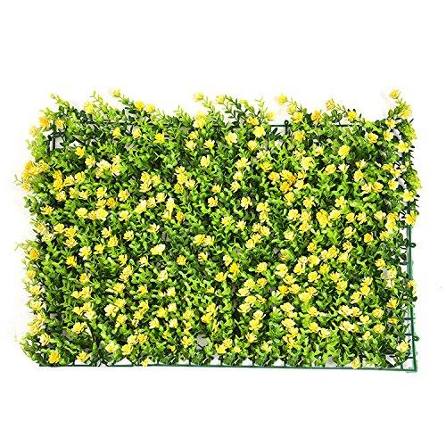 Künstliche Hecke mit Blumen Faux Greenery Sichtschutzmatten grün Heckenschere Hintergrund Kunststoff Garten Fake Zaun Matte Panel-Gitter Wandschmuck von yunhigh Stil 3