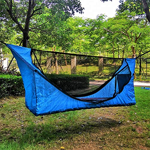 ZZBB Camping Hammock, Tree Tent, Mosquito Net Hammock Canopy Tent Set Outdoor Pergola Anti-mosquito Rainproof Suspension Tent for Outdoor Backpacking Hiking Travel,Blue