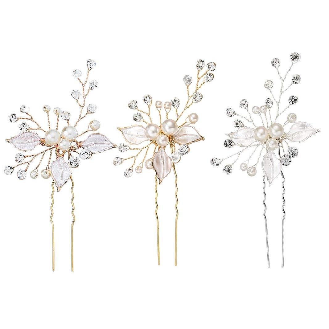 東方不要反毒3個手作りの花の葉のビーズの弦とヘアピンクリップヘアクリップラインストーンウェディングブライダルヘアフラワーアクセサリー用の花嫁とブライドメイド(シルバー+ゴールド+ローズゴールド)