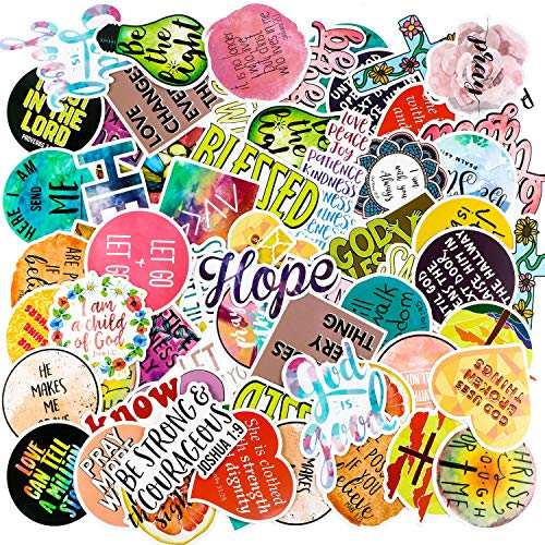 100 Pieces Inspirational Stickers Faith Stickers Faith Wisdom Words Decals Stickers Verse Motivational Stickers for Water Bottle Car Skateboard Laptop Luggage