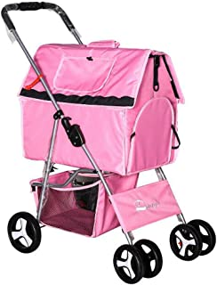 TtyhchPet Stroller Foldable 4-Wheeled Trolley Dog Buggy pet pram Dog Travel Pushchair for Dogs and Cats Pets with Detach Carrier,Pink