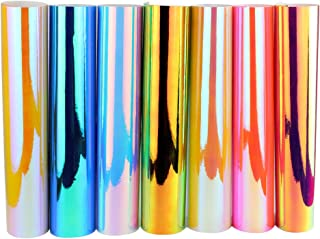 "12"" x 12"" 7 Sheets Holographic Opal Craft Vinyl Craft Adhesive Vinyl Rainbow Plating Lettering Sticker Multi Opal Rainbow ..."