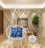 Upright Cotton Hanging Hammock Chair Round Home Swing for Adult Kids for Indoor, Outdoor, Balcony, Garden (Off White, Weight hold up to 100 kg)