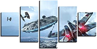 IGHFVJFG Modern Wall Art Five Pieces Anime Hand Painted Canvas Oil Paintings Home Star Wars Movie Abstract Poster American Style-Size1-Framed