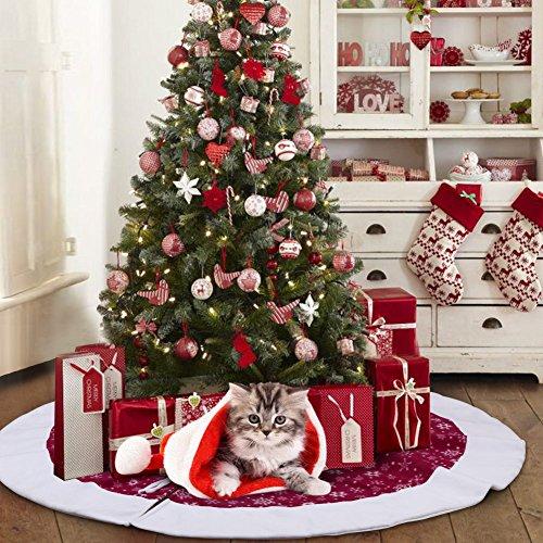 AerWo 122cm Samt Schneeflocke Weihnachtsbaum Rock 2018 Neujahr Weihnachtsbaum Dekoration Verkleidet den Baumständer und bietet viel Platz