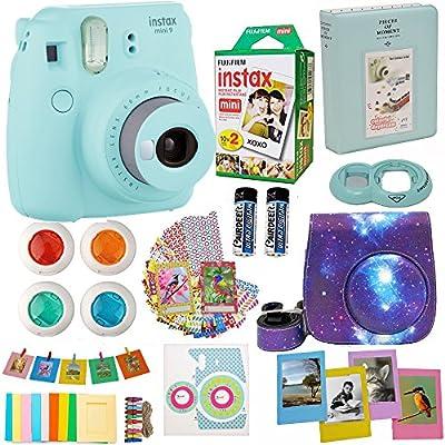 Fujifilm Instax Mini 9 Camera (USA) + Accessories kit for Fujifilm Instax Mini Camera Includes Instant Camera + Fuji Instax Film (20 PK) Case + Frames + Selfie Lens + Album and More by abesons