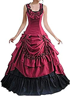 Womens Sleeveless Bowknot Gothic Lolita Dress Floor Length Ball Gown