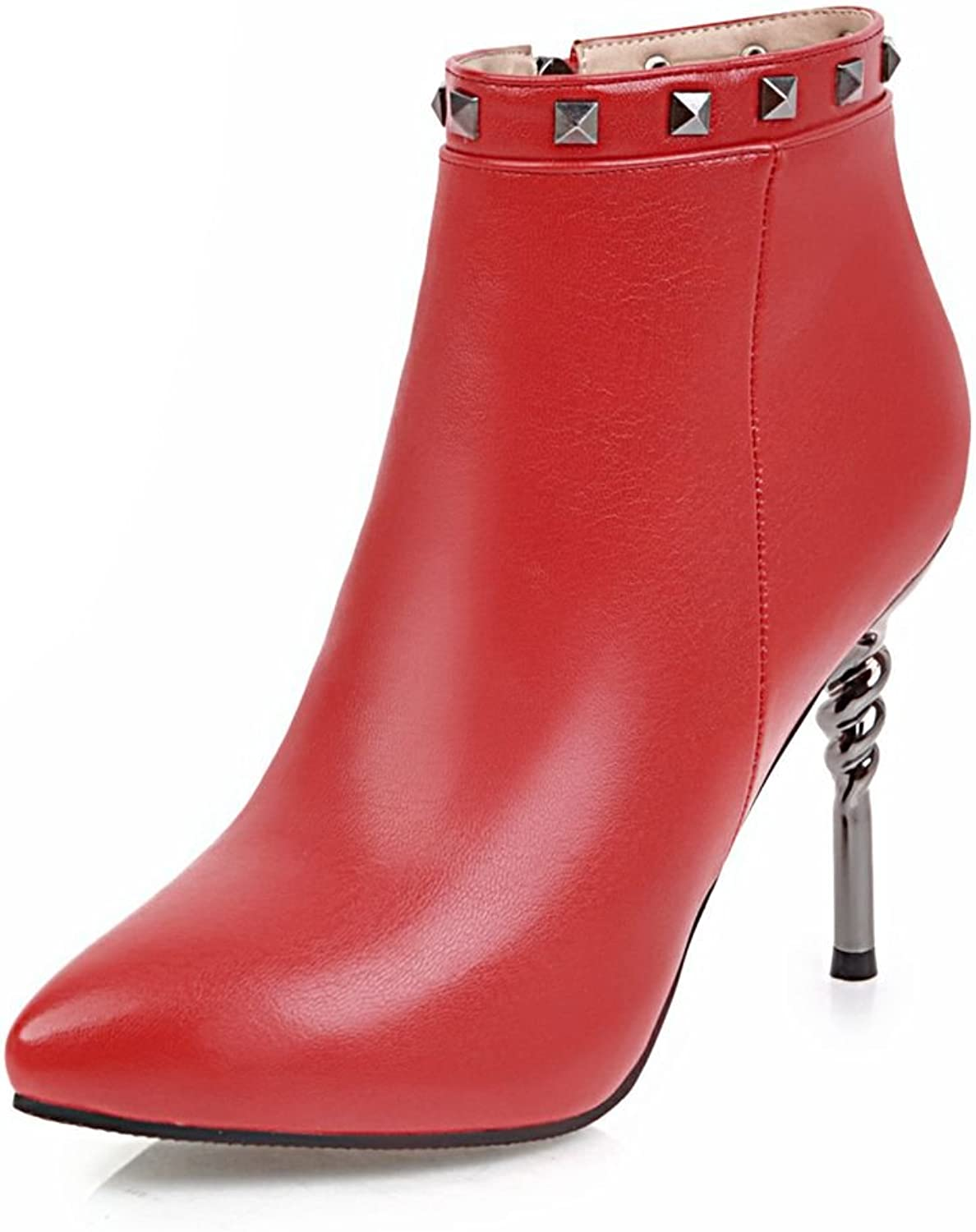 SaraIris Rivet Thin Heels Solid Pointed Toe Zipper Ankle Boots for Women