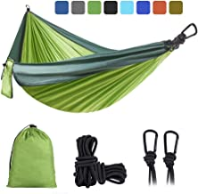 DONGOLO Double & Single Camping Hammock Lightweight Portable Parachute Nylon Hammock Set for Indoor and Outdoor