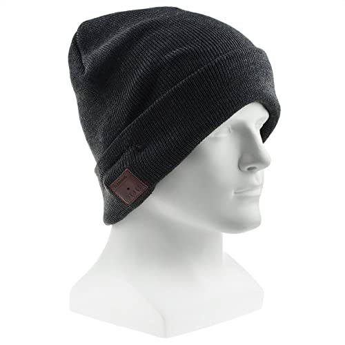 Bluetooth Beanie Hat Cap, Flashmen Wireless Bluetooth Hat with Headphone Headset Earphone Knitted Beanie with Stereo Speakers and Microphone Hands Free Talking for Women Men (Grey-H003B)