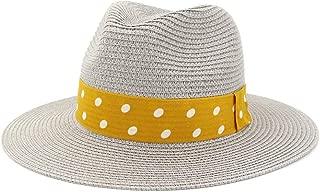 Panama Hat Men Straw Fedora Sunhat Women Summer Beach Sun Visor Cap Chapeau Cool Jazz Trilby Cap Sombrero` TuanTuan (Color : Gray, Size : 56-58CM)