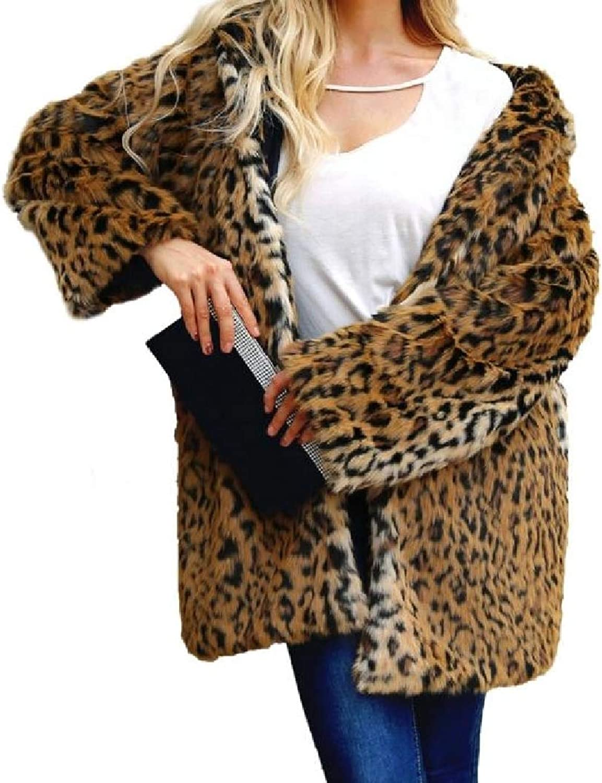 DayCrazy Women's OpenFront Sexy Thickened Hood Leopard Fleece Jacket