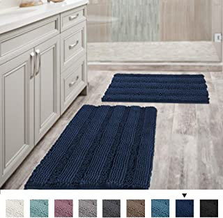 Navy Blue Bathroom Rugs Slip-Resistant Extra Absorbent Soft and Fluffy Striped Bath Mat Set Chenille Bath Rugs, Floor Mats Dry Fast Machine Washable (Set of 2-20