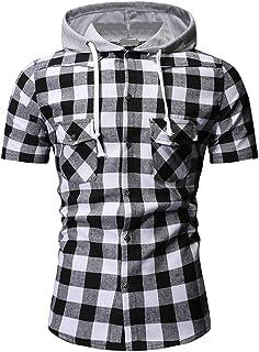 Mr.BaoLong&Miss.GO Camisas De Manga Corta para Hombres Camisas Casuales con Capucha para Hombres Camisas A Cuadros De Tama...