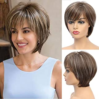 Short Brown Wigs for Women Blonde Highlights Wig with Bangs Short Straight Bob Wigs Natural Synthetic Hair Wigs Daily Hair...