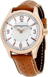 Frederique Constant Men's Smartwatch 42mm Leather Band Rose Gold Plated Case Quartz Watch FC-282AS5B4