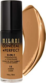 Milani Conceal + Perfect 2-in-1 Foundation + Concealer - Amber (1 Fl. Oz.) Cruelty-Free Liquid Foundation - Cover Under-Eye Circles, Blemishes & Skin Discoloration for a Flawless Complexion