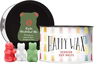 Happy Wax - Winter Wonderland Mix Soy Wax Melts - Scented Wax Melts Infused with Essential Oils - A Variety Mix of Evergreen Tree, Sugar & Spice, and Winterberry Wax Melts (3.6-Oz. Classic Tin)