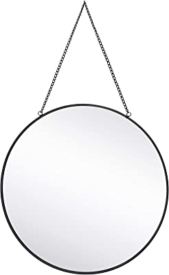 """Dahey Wall Hanging Mirror Decor Gold Round Mirror with Hanging Chain for Home Bathroom Bedroom Living Room,11.75""""X11.75"""", Black"""