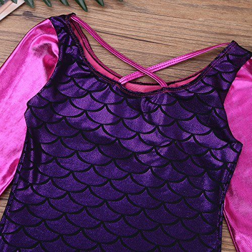 YOOJIA Girls Snow Queen Mermaid Sparkle Long Sleeve Gymnastic Athletic Dancing Leotard Ballet Dance wear Costumes Purple 5-6 Years