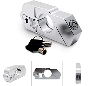 Motorbike Handlebar Lock - Motorbike Motorcycle Handlebar Throttle Grip Lock Aluminum Alloy Anti-theft Brake Level Lock for Bike Scooter Moped ATV(Black)-Silver