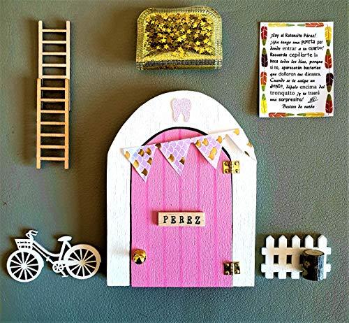Puerta Ratoncito Perez que SE ABRE!! de madera (TALLER ARTESANAL) con accesorios * rosa*