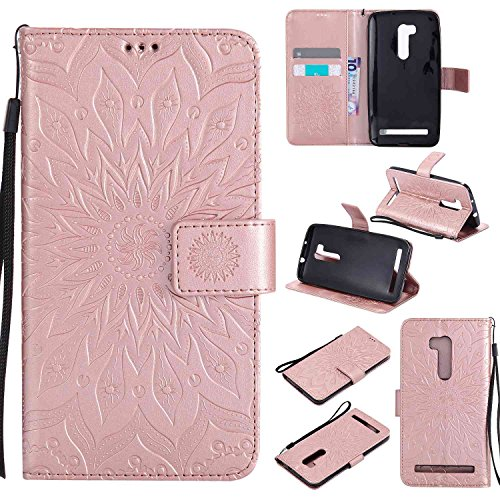 pinlu® PU Leder Tasche Etui Schutzhülle für Wiko Pulp 3G (5 Zoll) Lederhülle Schale Flip Cover Tasche mit Standfunktion Sonnenblume Muster Hülle (Roségold)