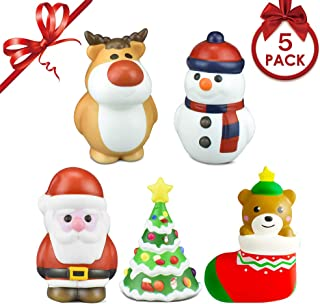 JOZON 5 Pack Christmas Squishies Toys Includes Santa, Christmas Tree, Reindeer,Stocking & Snowman Kawaii Slow Rising Squishies Toys Great Gifts for Kids, Holiday Party Favors