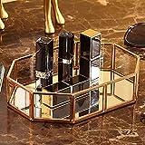 DIEYING Bandeja de espejo de cristal dorado, bandeja de perfume, bandeja para tocador de espejo, bandeja de tocador de metal poligonal, bandeja decorativa para velas,cosméticos, maquillaje, dormitorio