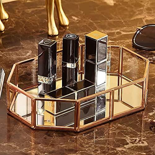 DIEYING Kosmetikschmuck Aufbewahrungstablett, Gold Spiegel Tablett Glas Dessertplatte Obst dekorative Parfüm Organizer, Western Cake Dessertteller Make-up Home Badezimmer