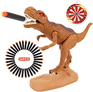 Dinosaur Toys Foam Dart Gun Tyrannosaurus Rex Realistic Model Assorted Dinosaur Figures with Roaring Sound and Lights Best Gift Toy for 3 4 5 6 7 Kids Boys And Girls (Tyrannosaurus Rex Version)